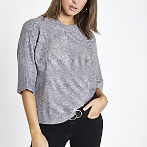 T-shirt en maille gris à manches évasées