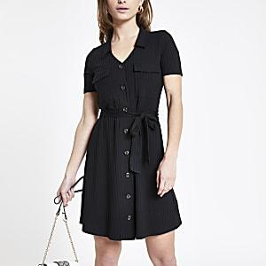 Petite – Robe chemise côtelée noire à style fonctionnel