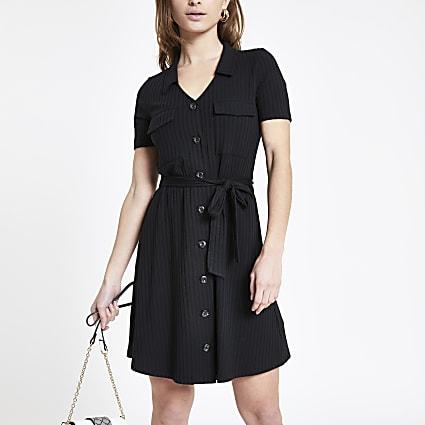 Petite black ribbed utility shirt dress