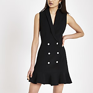 Schwarzes Bodycon-Kleid mit Strassverzierung