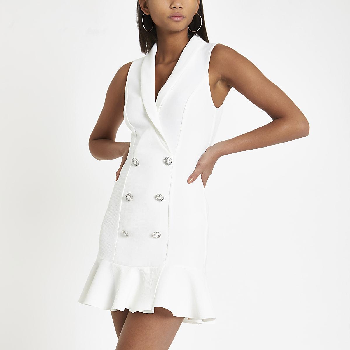 White rhinestone embellished bodycon tux dress