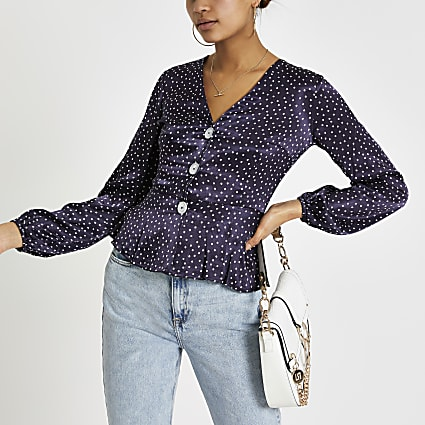 Navy spot long sleeve tea top