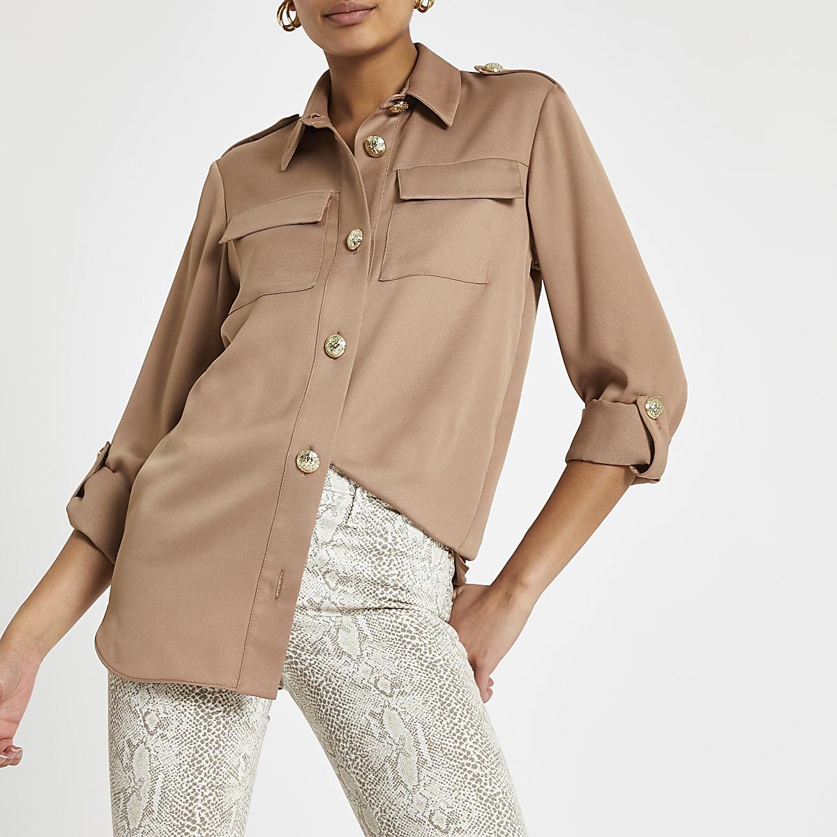 Light brown long sleeve utility shirt