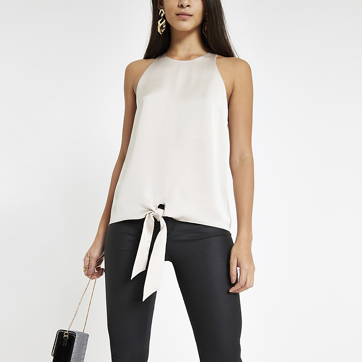 Grey loose fit tie knot front top