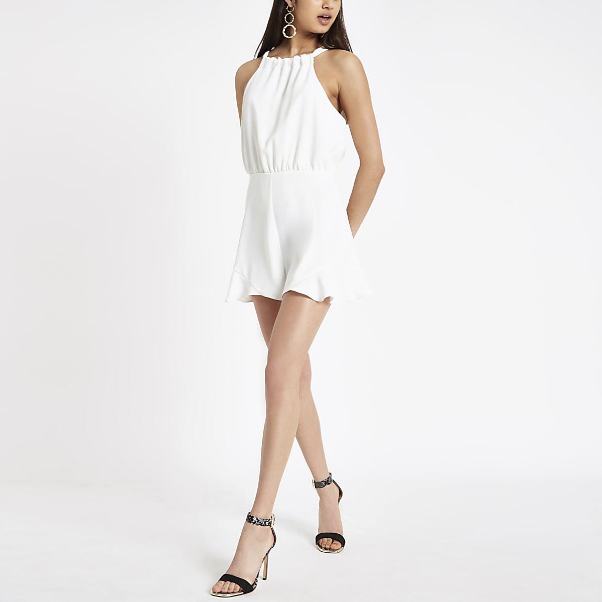 cc4df27cb3 White frill trim playsuit - Playsuits - Playsuits & Jumpsuits - women