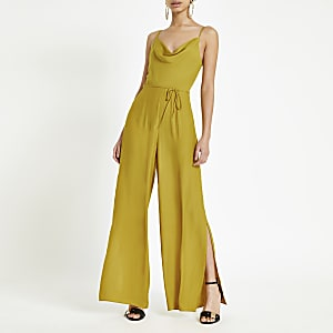 Yellow cowl neck jumpsuit