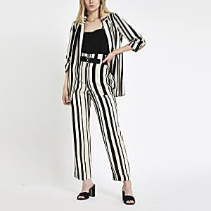 Black stripe D ring tapered leg pants