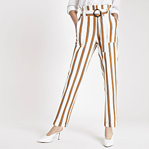 Brown stripe paperbag peg pants