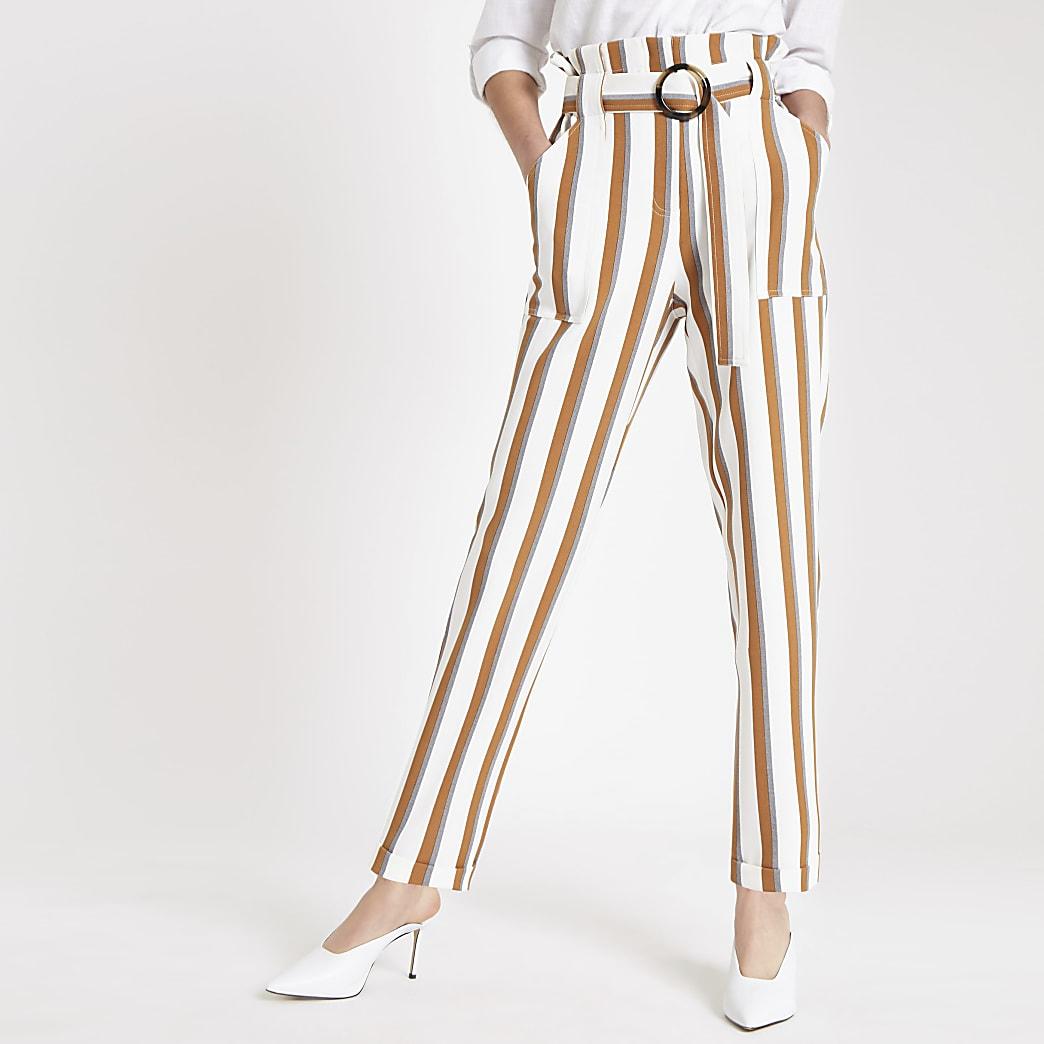 Pantalon carotte rayé marron à taille haute ceinturée