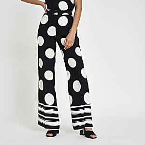 Navy spot print wide leg pants