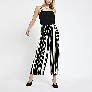 Black stripe print culotte pants