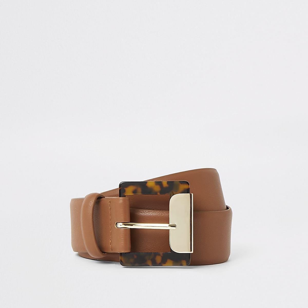 Brown tortoise shell buckle belt