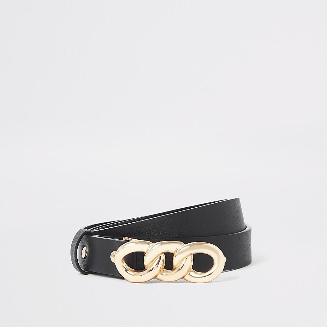 Black chain buckle belt