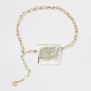 Gold quilted chain purse belt