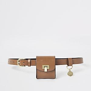 Bruine tas met riem