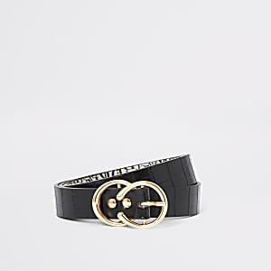 Black croc double ring buckle belt