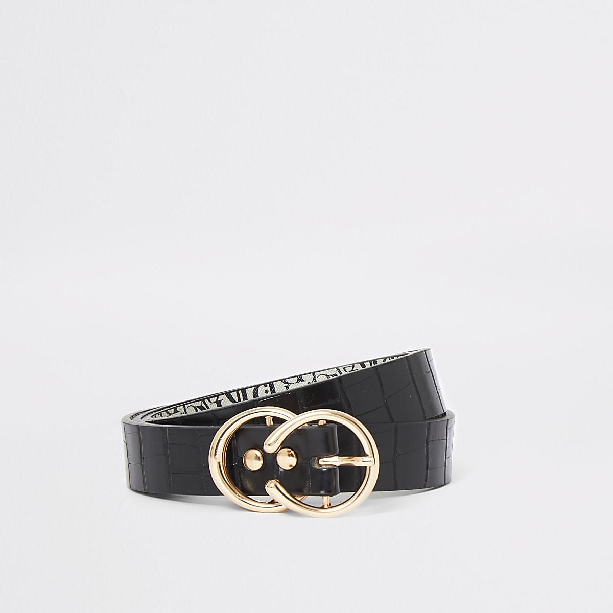 Zwarte riem met krokodillenprint, dubbele ring en gesp