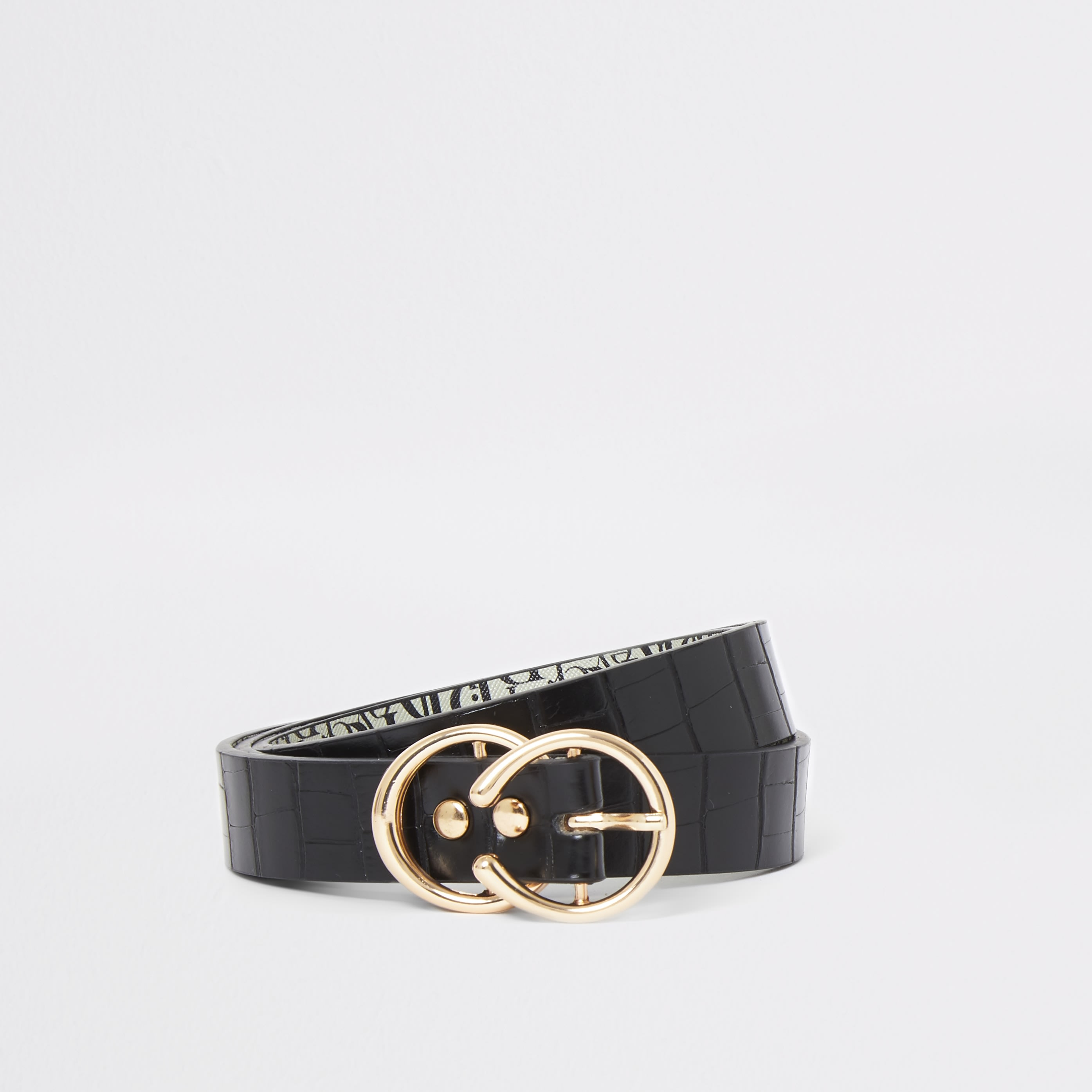 RIVER ISLAND | Womens Black Croc Double Ring Buckle Belt | Goxip