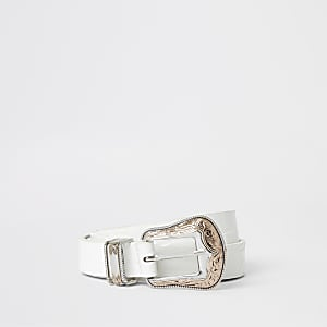 White croc western buckle belt