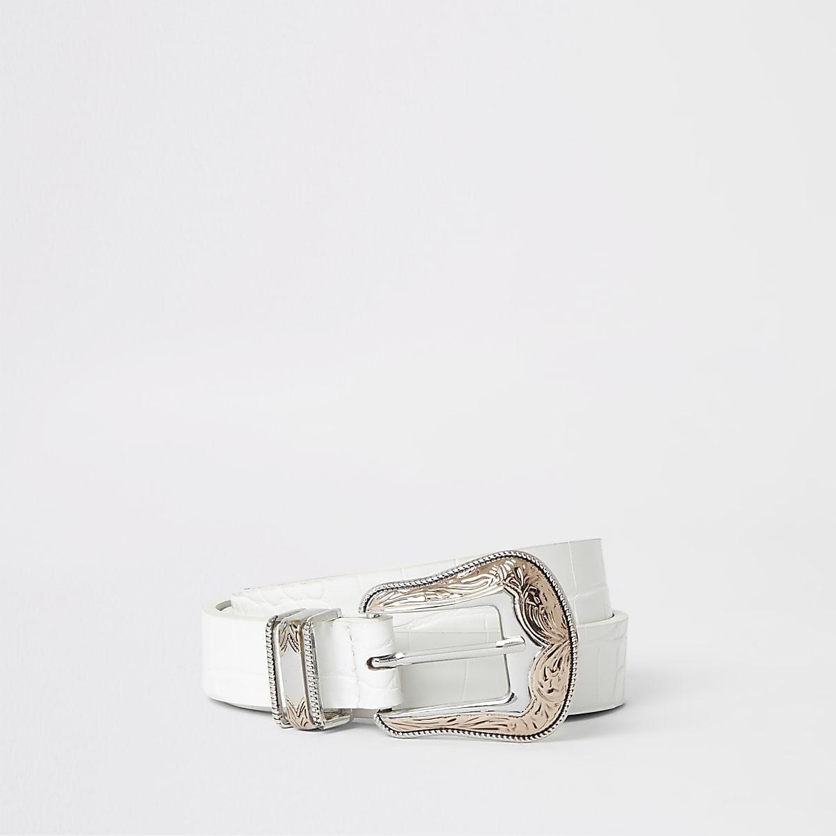 White croc western buckle belt