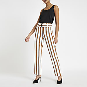 Brown stripe belted peg leg trousers