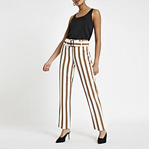 Pantalon carotte rayé marron à ceinture