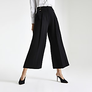 Black crop wide leg pants
