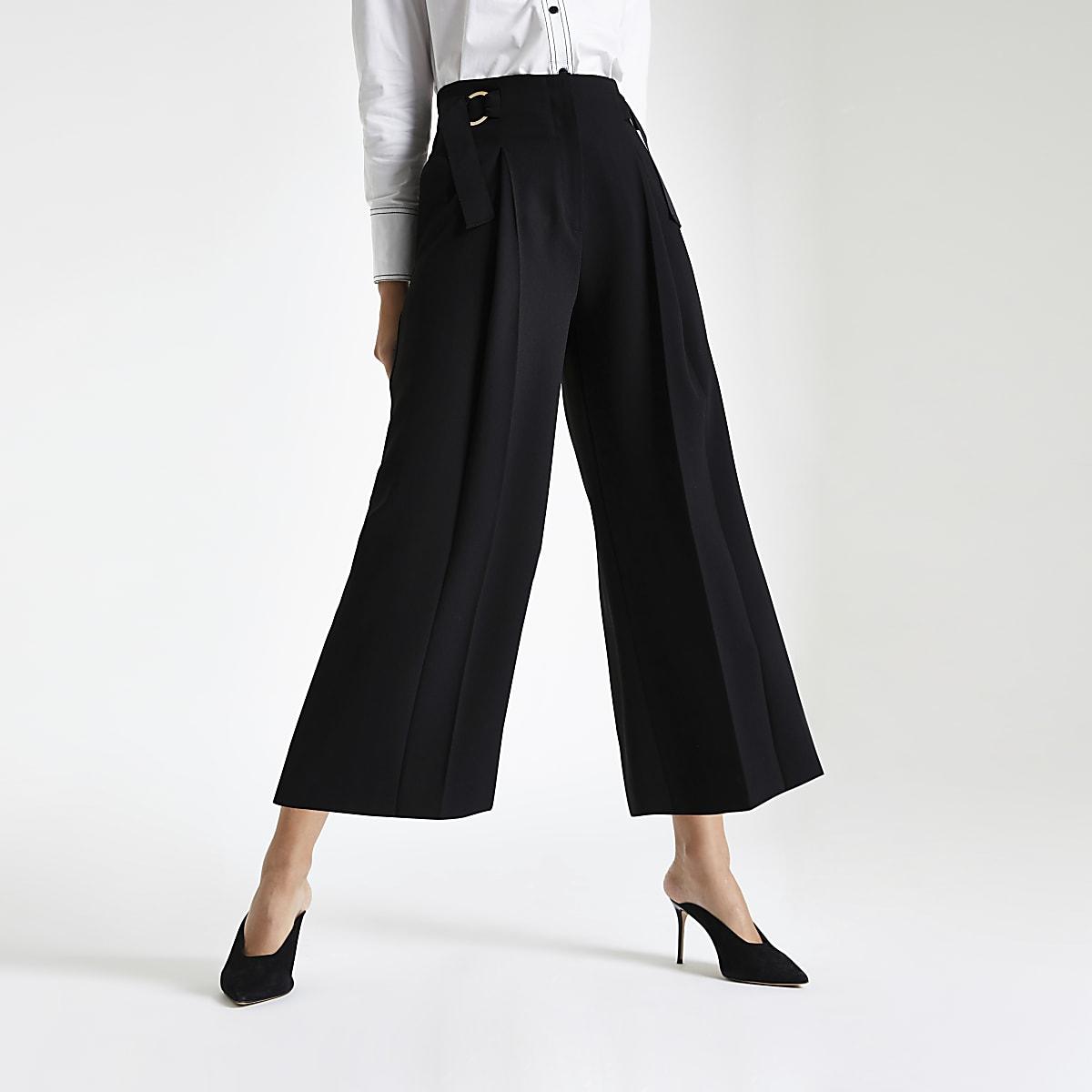Black crop wide leg trousers