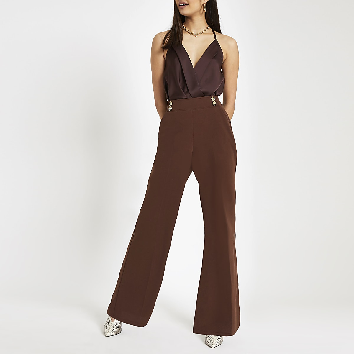 Brown satin wrap bodysuit