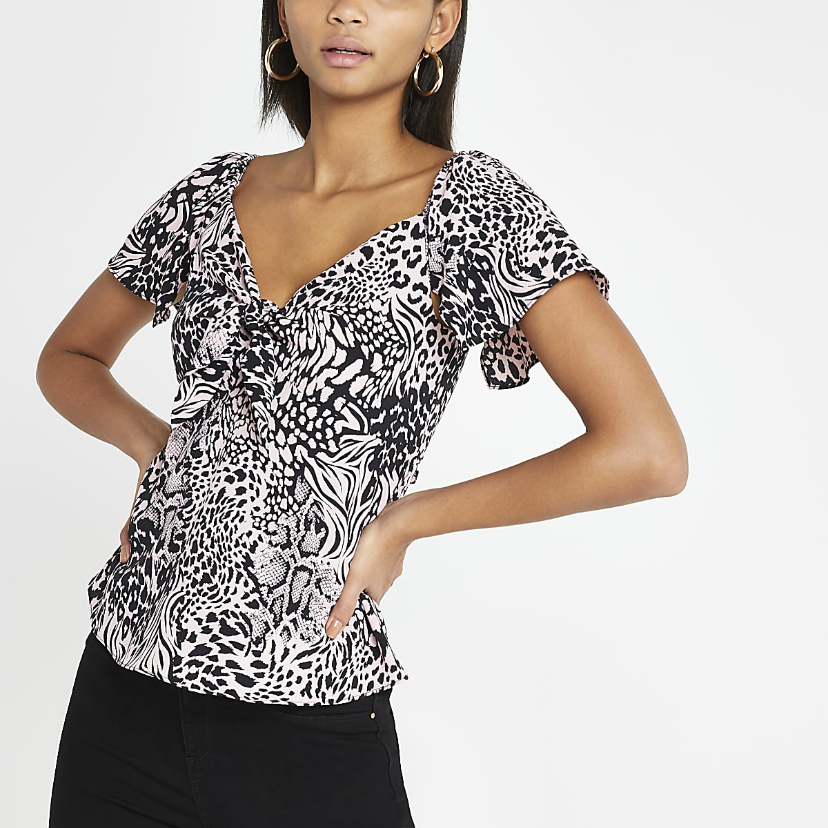310375f39ace Pink animal print tie front bardot top - Bardot / Cold Shoulder Tops ...