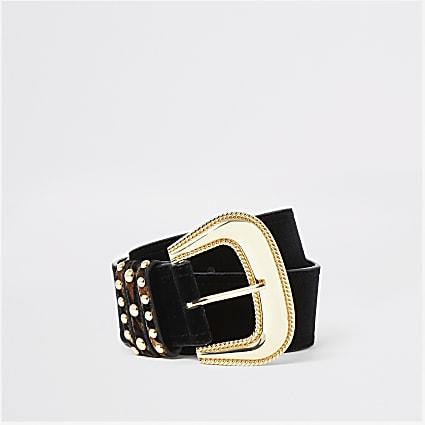 Black oversized velvet western belt