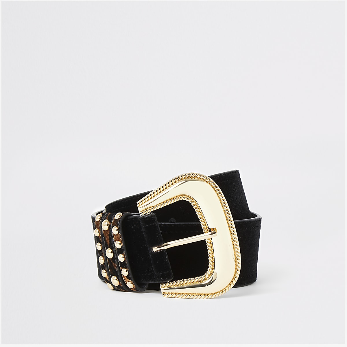 Black oversized velvet western belt