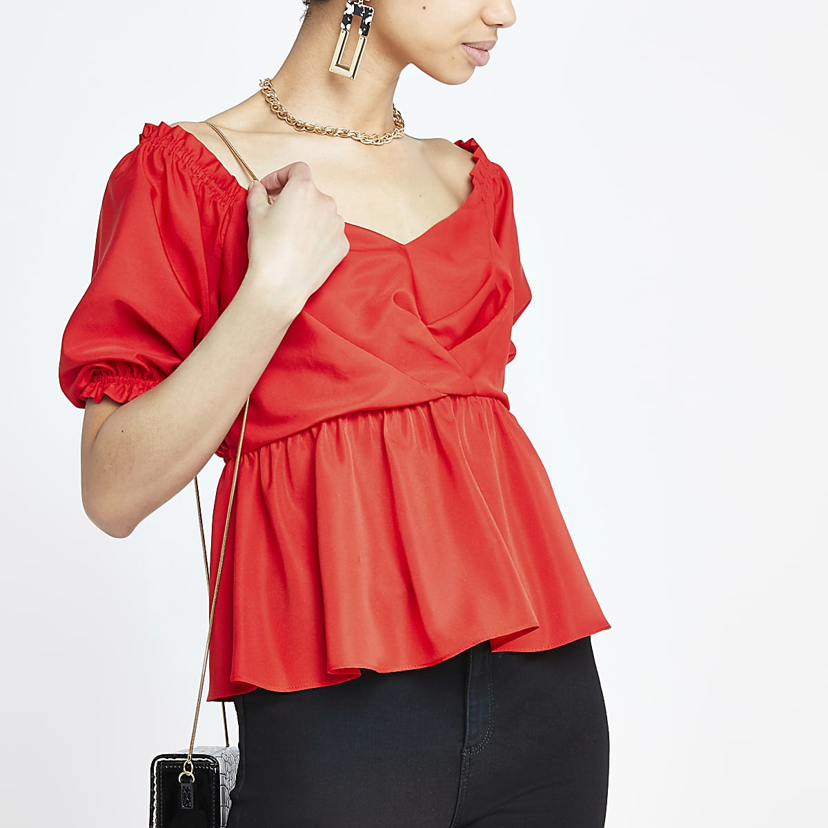 Red bardot puff sleeve tea top