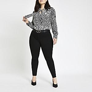 Plus black leopard print tie neck blouse