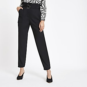 Black paperbag tapered trousers