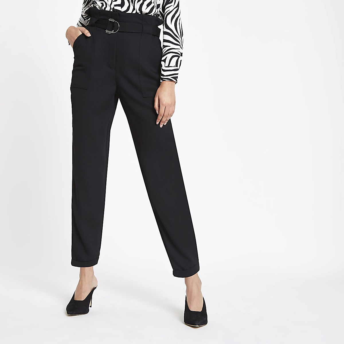 8697fc68343ce Black paperbag tapered trousers - Tapered Trousers - Trousers - women