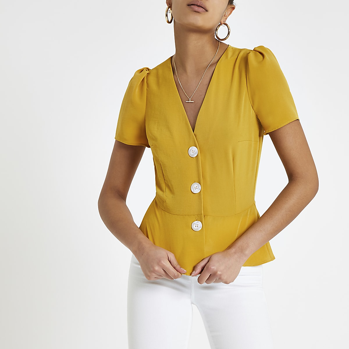 Yellow button front tea top