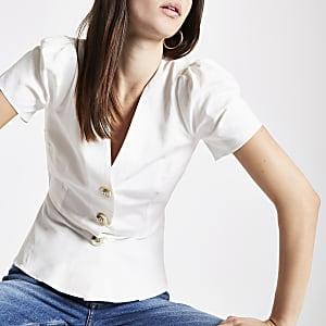 White button front tea top