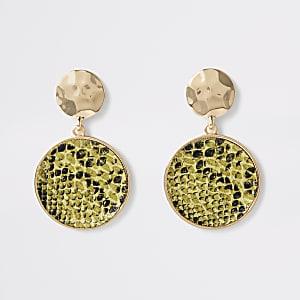 Neon green snake print circle drop earrings