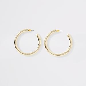 Gold color chunky hoop earrings