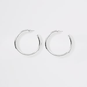 Silver color chunky hoop earrings