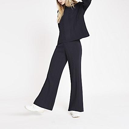 Navy ribbed trouser set