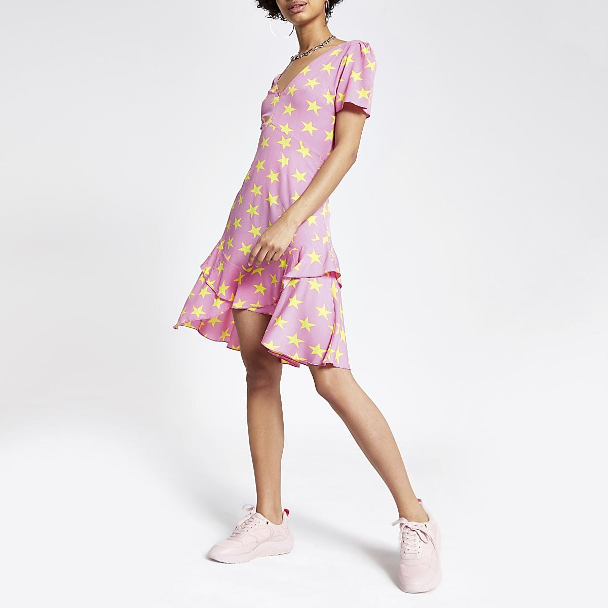 Pink star print mini dress
