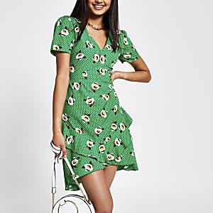 Green print frill hem mini dress