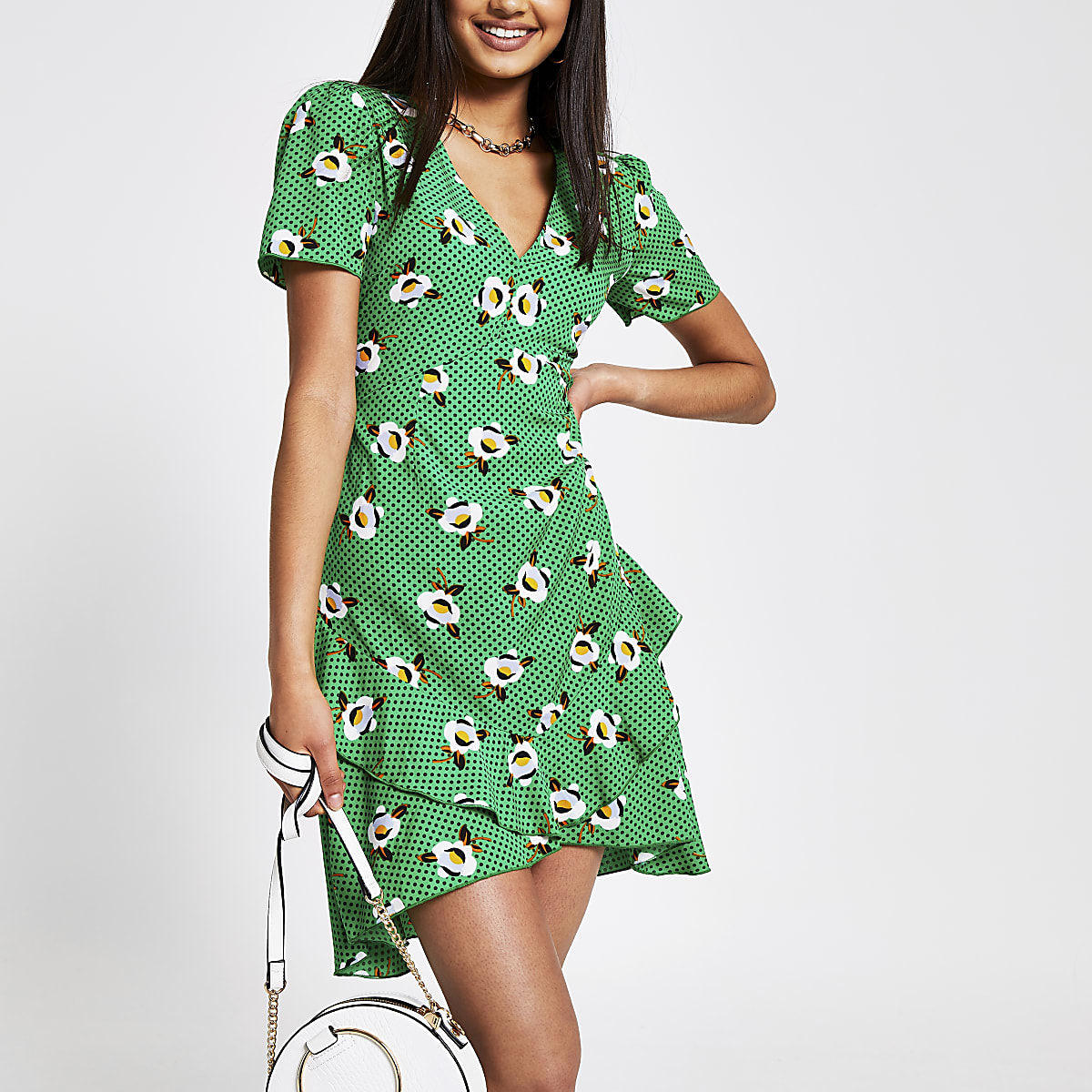 Green print frill hem mini dress