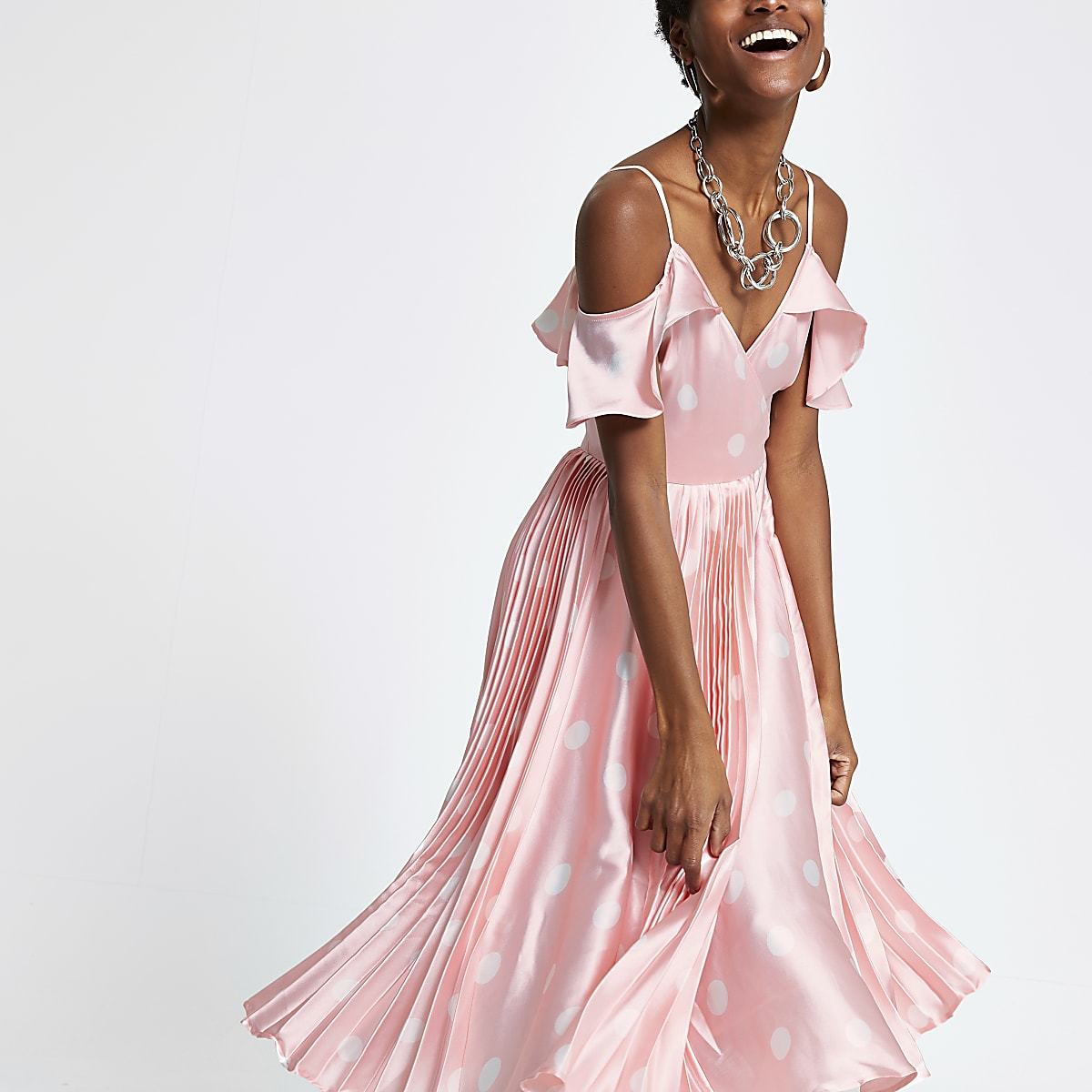 Pink spot cold shoulder pleated swing dress