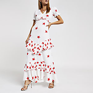 White star print maxi dress