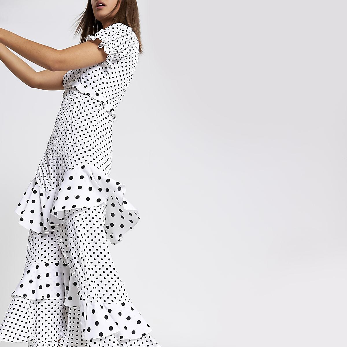 White and black spot print frill maxi dress