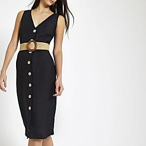 fe8d92bc6ed152 Zwarte linnen midi-jurk met knopen voor en ceintuur