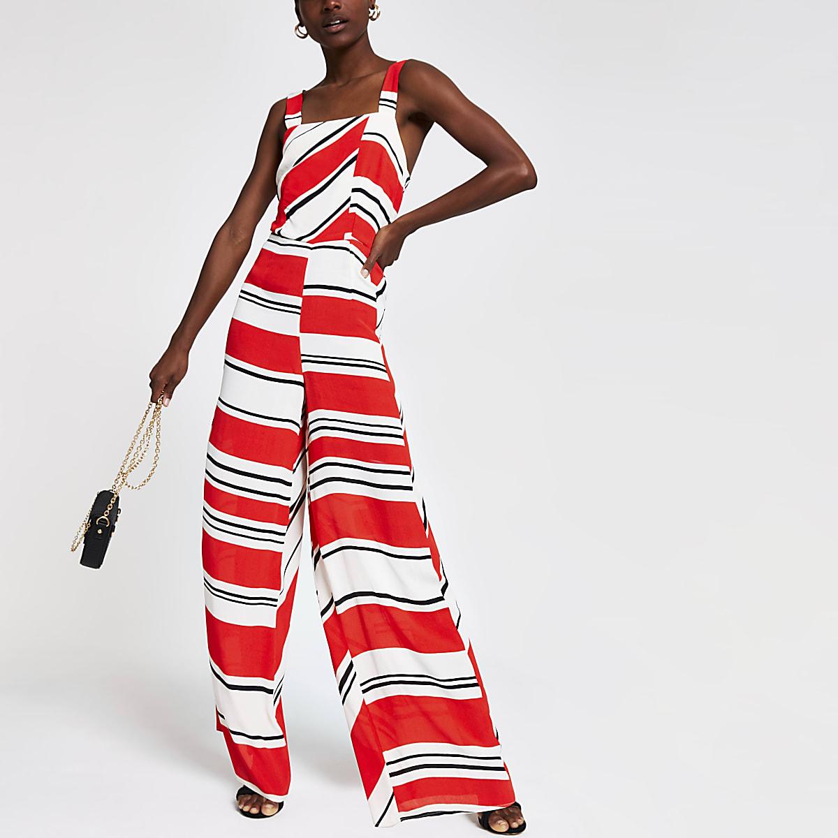 Rode gestreepte jumpsuit met wijde pijpen